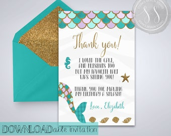Mermaid Thank You Card, Mermaid Party Invitation, Thank You Card