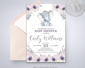 Elephant Baby Shower Invitation, Purple Elephant Invitation