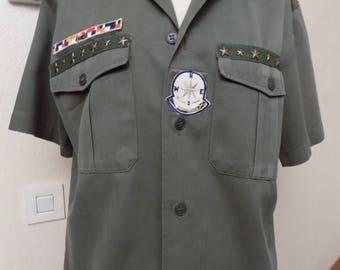 Khaki cotton short sleeve shirt
