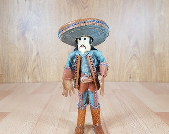 Leather doll - Mexican doll - Doll - 1980s - Handmade.
