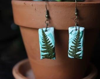 Rectangle fern clay earrings