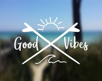 DECAL {Good Vibes} Wave Decal | Ocean Decal | Vinyl Decal | Car Window Decal | Laptop Decal |Yeti Decal | Water Bottle Decal | Phone Decal