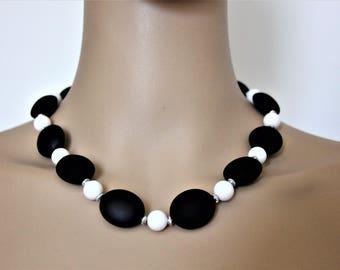 Black and White Princess Length Necklace