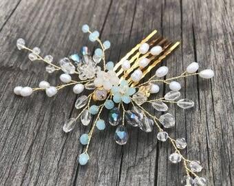 Blue hair piece, Bridal headpiece, Wedding hair piece, Wedding hair comb, Crystal hair comb, Flower hair comb, Crystal headpiece