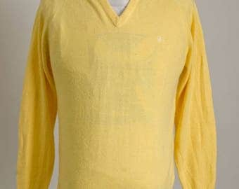 Vintage 1980's Christian Dior Monsieur Yellow Knit Cardigan Sweater Size M