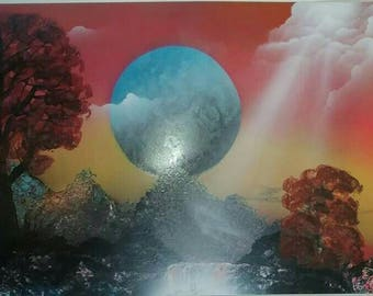 Planet scenery Spray paint picture. Made by a Native American. Blues, oranges, reds, yellows and more. Unique gift for him or her. Handmade.