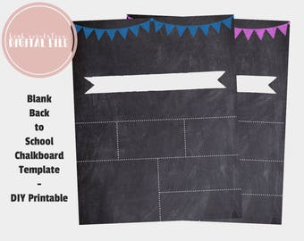 Back To School Template, Reusable First Day of School Sign, DIY Printable, Digital Chalkboard Sign, 1st Day, Instant Download, Digital File