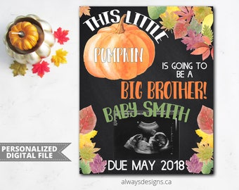 Fall Pregnancy Announcement, Fall Big Brother Announcement, Baby Reveal, Digital Chalkboard Sign, Pregnancy Reveal, Photo Prop, Digital File