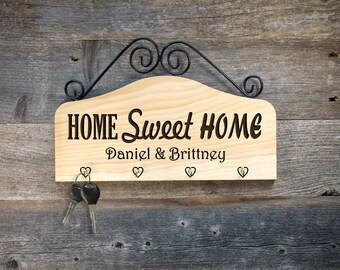 Personalized Key Holder Key Hanger~ Home Sweet Home- Housewarming Gift, Wedding Gift, Anniversary, Engagement Gift