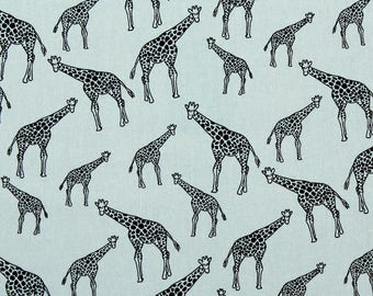 Stand Tall | 100% Cotton Poplin Fabric | Giraffe Fabric | Safari | Animal Print Fabric | Grey Fabric