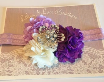 Purple, Lavendar and White Flower Baby Headband