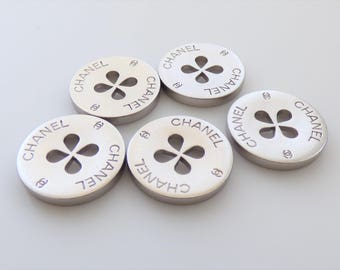Chanel CC Clover Shamrock Silver Metal Flat Buttons 20mm  / Price is for one button
