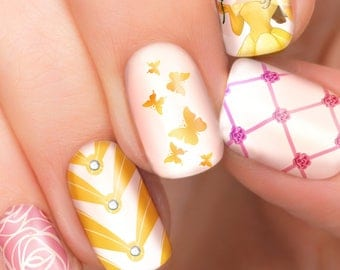 Belle Disney nail transfers - illustrated nail art decals - Beauty and the Beast Princess  - Disney nail stickers