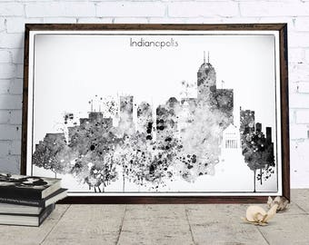 Indianapolis Black White Skyline, Indianapolis Printable Skyline, Indiana Digital Poster, Printable wall art, Digital Download