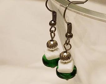 Green, White, and Silver Fish Hook Dangle Earrings