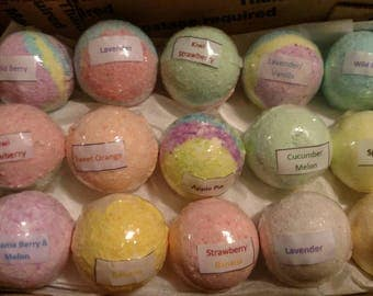 Sale Bath Bombs-Random Set of 15-Made with Coconut Oil-Variety of Colors and Fragrances-Sensitive Skin-Perfect for Kids-Great Gift Idea