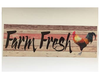Farm Fresh Rooster Chicken Sign Coop Country House Large