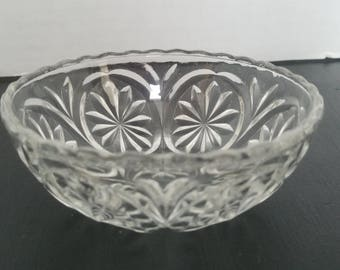 Vintage Pressed Glass Bowl Gorgeous for Home Decor or Furniture Staging