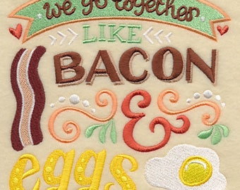 Go Together - Bacon & Eggs, Embroidered Valentines Tea Towel, Food Dish Towel, Housewarming Gift, Wedding Present