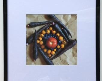 FOOD PHOTOGRAPHY PRINT - farmers market produce art - kitchen art - fine art print - red - purple - tomato - carrot - blueberries