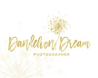 Premade Branding Kit, Dandelion logo, Photography logo and watermark, Blog logo, Gold logo, Logo Design Stamp, Branding kit, Logo package 70