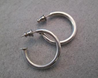 Sterling Silver Hoop Earrings> Smaller Wearable Size> Simple & Plain> Everyday Earrings> New old stock, never worn