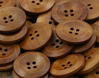 "25 Wood Brown Buttons, 4 hole buttons, 25mm wood buttons, coffee color buttons, Round Sewing Wood Buttons 25mm (1"")"