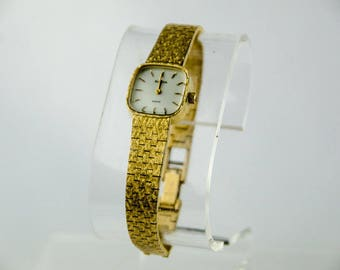Vintage Women's Bulova Gold Tone Dress Brick Link Watch