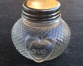 Engraved glass candle holder; engraved glass jar; textured glass candle holder