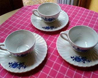 Tea for 3 - Luneville Badonviller blue and white cups and saucers - French vintage