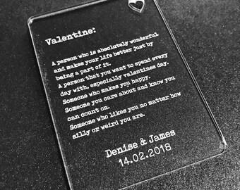 Personalised Valentine Wallet Card Insert Valentines Gift Mr & Mrs, His Hers, Couples, Boyfriend, Girlfriend, Lover.