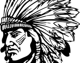 American Indian in SVG / Eps / Dxf / Jpg files INSTANT DOWNLOAD!