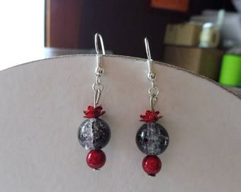 Earrings red - black and white