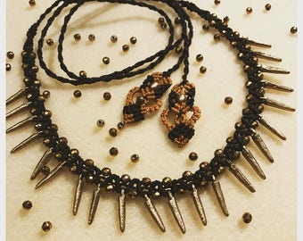 Macrame black&gold necklace