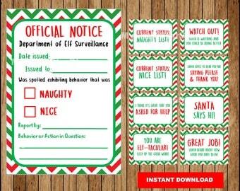 Elf Behavior Report cards , Printable Elf Naughty or Nice Notice Letter,  Christmas Elf Behavior Update Cards Instant download