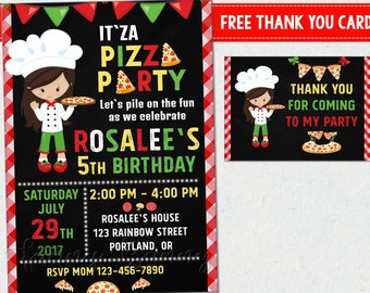 Pizza party invitation Pizza invitation Pizza birthday card Girls pizza making invite Italian little chef birthday outfit Thank you tags
