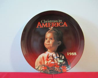 Vintage Collector Christmas In America Plate, 1988 Kmart Limited Edition Christmas in America Plate, Christmas Plate, Christmas in America