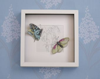 Handcrafted 3D shadow box picture with hand cut paper butterfly butterflies on flower design - home decor wall hanging birthday gift