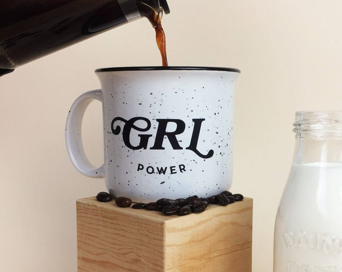 Featured listing image: GRL POWER speckled camp fire mug