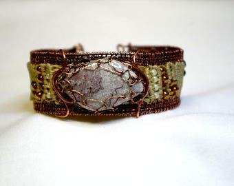 Copper bracelet and macrame