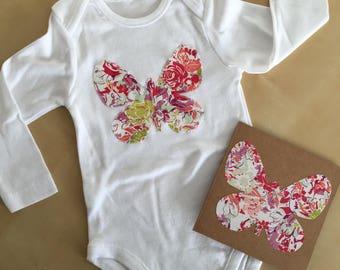 Girls butterfly bodysuit. Butterfly card. Girls onesie. Baby girl butterfly onesie. Butterfly appliqué bodysuit. Girls bodysuit. Shower gift