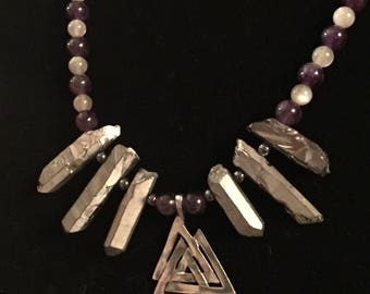 Valknut Necklace with Silver-Treated Quartz, Amethyst, Moonstone, and Hematite