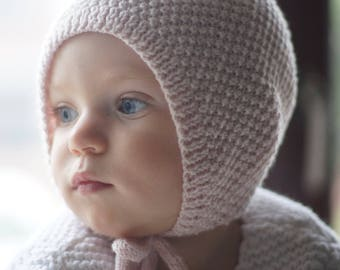 Hand knitted bonnet, powder pink hat, Ready to Ship, Classic style hat,  Hat for todler, Retro Baby UK