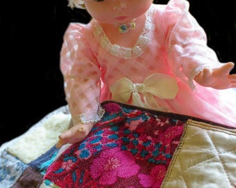 Adorable Vintage Hand Made Doll Quilt Multiple Fabrics Quaint