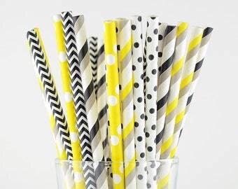 Black/Grey/Yellow Mix Paper Straws - Party Decor Supply - Cake Pop Sticks - Party Favor