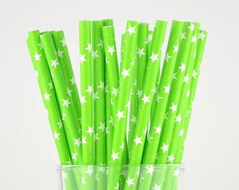 Green Stars Paper Straws - Party Decor Supply - Cake Pop Sticks - Party Favor