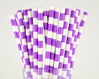 Purple Circle Paper Straws - Mason Jar Straws - Party Decor Supply - Cake Pop Sticks - Party Favor