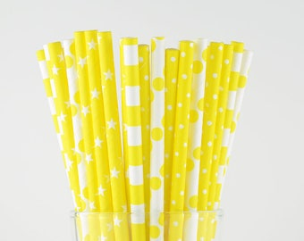 Yellow Paper Straw Mix - Polka Dots/ Circle/ Stars - Party Decor Supply - Cake Pop Sticks - Party Favor