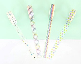 Set of 4 Rolls Rainbow Color Striped/Dots/Checkered Washi Tape - 15mm x 7m - Gift Wrapping - Decorative Tape - Scrapbooking Sticker