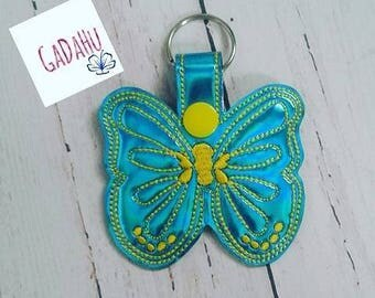 Butterfly Key Fob Snap Tab Embroidery Design 4X4 size